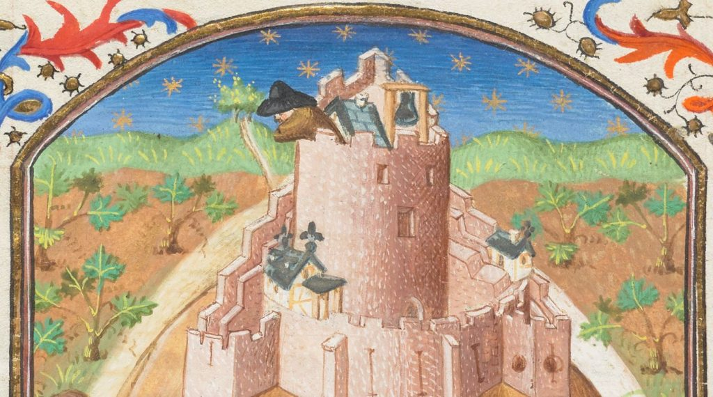 Free Library of Philadelphia Widener 1, La voie de Povrete ou de Richesse (The Way of Poverty or of Wealth), fol. 64v (detail)