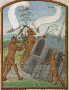 Drawing of three foxes taking sledgehammers to a church.