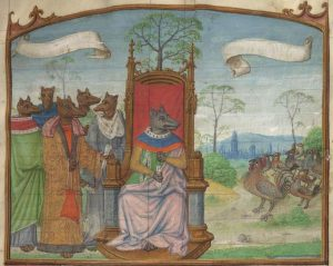 Image of foxes disguised as noblemen and a flock of chickens