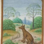 Drawing of a fox fouling a badger's sett.