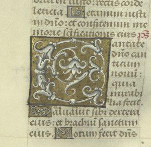 MS 39 (Chew Psalter), fol. 39v (detail)